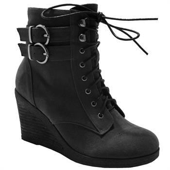 Red Hot Black Buckle Wedge Boots 8cm Heel