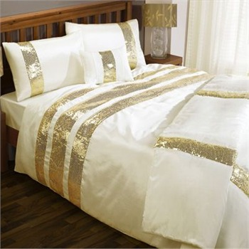Cascade Home Cream/Gold Sequin Bands Duvet Set