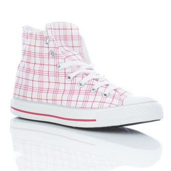 Converse Women's White/Red Checked High Top Trainers