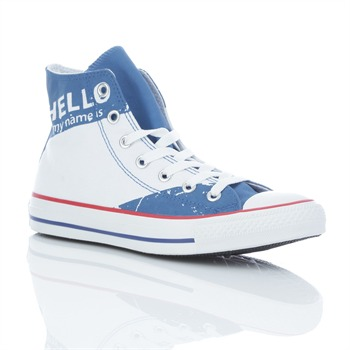 Converse Unisex White/Blue Chuck Taylor Print High Top Trainers