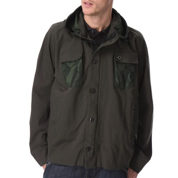 Ma Strum Green Cotton Contrast Trim Hooded Jacket