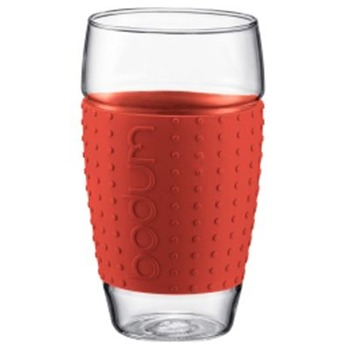 Bodum Set of Two Red Pavina Glasses 0.6L