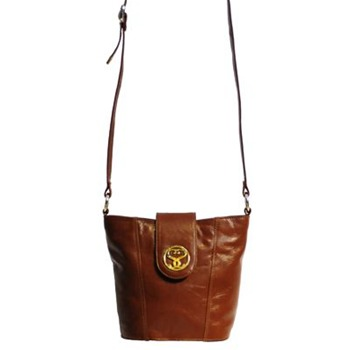Suzy Smith Brown Leather Bucket Shoulder Bag