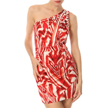 Lipsy Red/White Jewel Spray Shoulder Dress