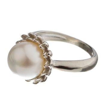 Dower & Hall Sterling Silver/White Pearl Crysthamum Ring