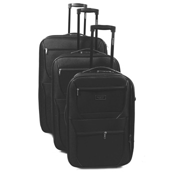 Jean Louis Scherrer Set of Three Black Milan Suitcases