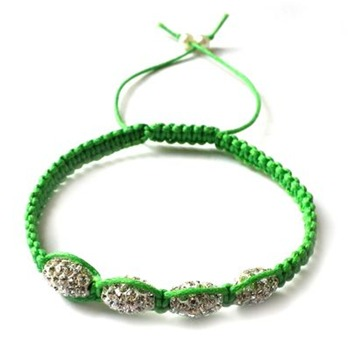 Love Crystal Green/Silver Oval Austrian Crystal Bracelet