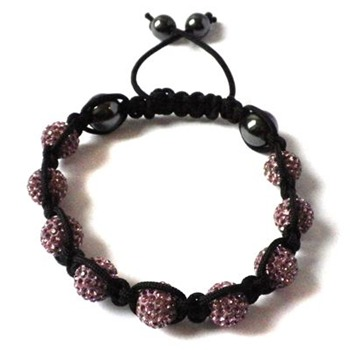 Love Crystal Pink/Black Nine Austrian Crystal Bracelet