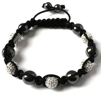 Love Crystal Silver/Black Five Austrian Crystal/Hematite Bracelet