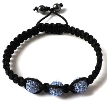 Love Crystal Blue/Black Three Austrian Crystal Bracelet