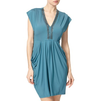 Almost Famous Blue Drape Pocket Dress