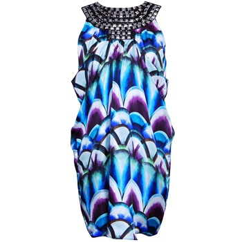 Almost Famous Aqua Stone Embellished Neck Dress