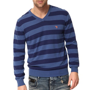 Canterbury Blue Striped Cotton V-Neck Jumper