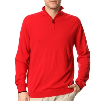 Aquascutum Golf Red Zip Neck Wool Jumper
