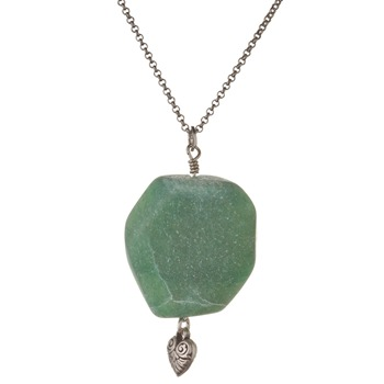 Jamie Jewellery Antique Silver/Green Semi Precious Stone Necklace