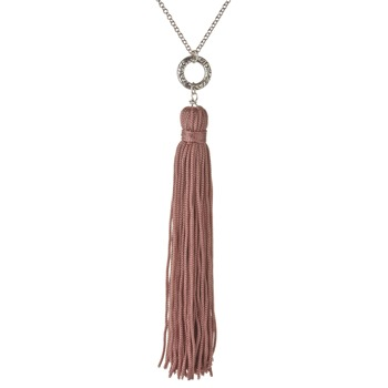 Jamie Jewellery Silver/Dusty Pink Tassel Necklace