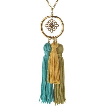 Jamie Jewellery Gold/Green/Blue Cluster Tassel Necklace