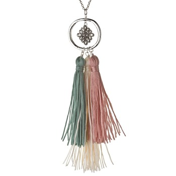 Jamie Jewellery Silver/Cream/Green Cluster Tassel Necklace
