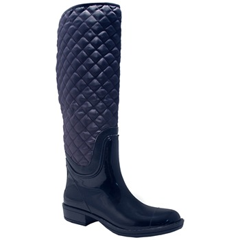 Red Hot Navy Quilted Long Boots 3cm Heel