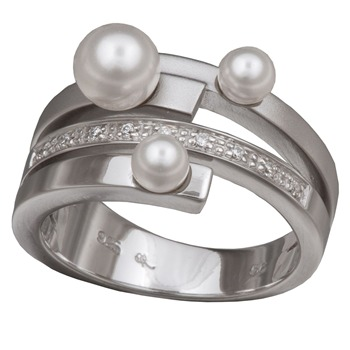 Orphelia Silver/White Zirconium/Pearl/Synthetic Swarovski Ring