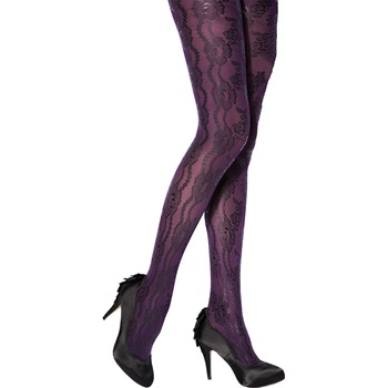 Charnos Purple Betty Filigree Lace Print Tights