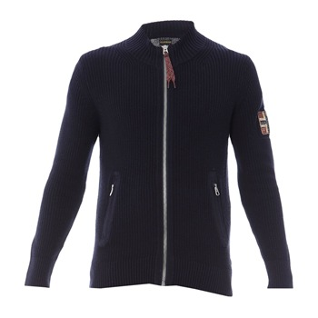 Napapijri Navy Zip Cotton Cardigan