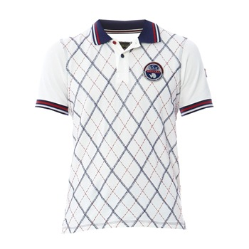 Napapijri White Argyle Printed Polo Shirt