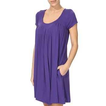 DKNY Purple Cap Sleeve Pleated Sleep Shirt