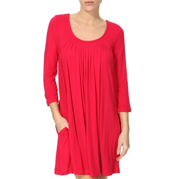 DKNY Red Pleated Modal Blend Sleep Dress