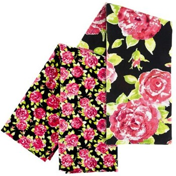 Ragged rose Pack of Two Black/Pink Rose Print Tea Towels