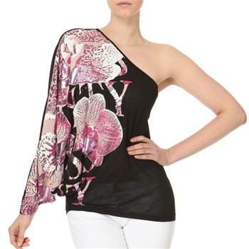 Miss Sixty Black/Pink Asymmetric Printed Top