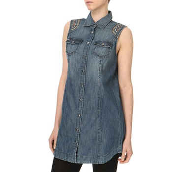 Miss Sixty Blue Denim Stud Shoulder Denim Shirt