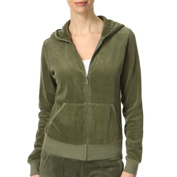 Juicy Couture Camouflage Green Hooded Crown Velour Top