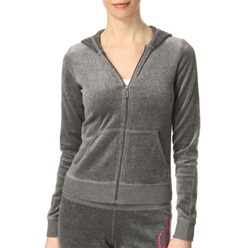 Juicy Couture Dark Grey Logo Back Hooded Velour Top