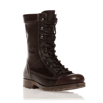 Café Noir Dark Brown Panelled Lace Up Leather Boots
