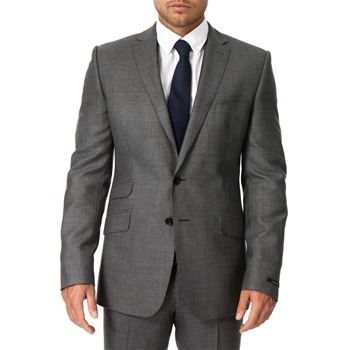 Jaeger Grey Puppytooth Gradient Weave Wool Jacket