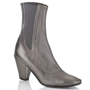 BIBA Pewter Leather Boots 8.5cm Heel