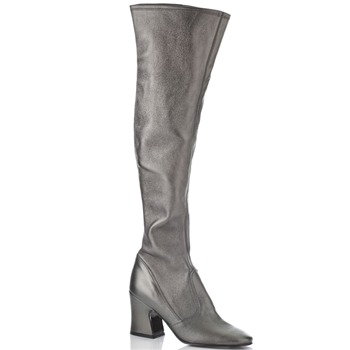 BIBA Silver Leather Over The Knee Boots 8cm Heel