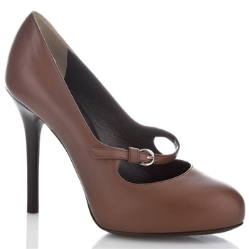 Dolce & Gabbana Brown Rowan Leather Bar Shoes 11cm Heel