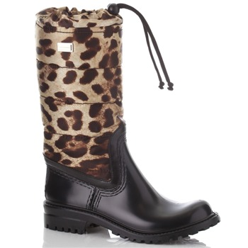 Dolce & Gabbana Black/Brown Fabric Pull Wellington Boots