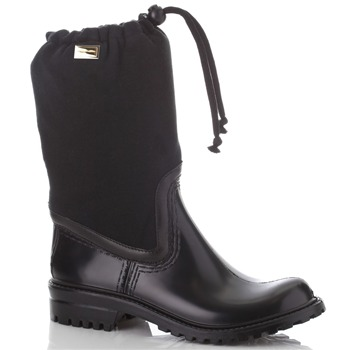 Dolce & Gabbana Black Fabric Pull Wellington Boots