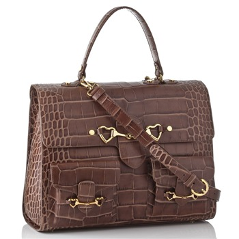 Moschino Brown Mock Croc Leather Tote Bag