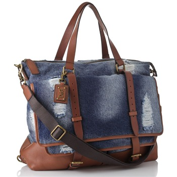 Dolce & Gabbana Blue Denim Large Distressed Bag