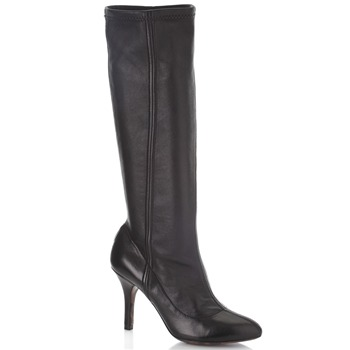 Dolce & Gabbana Black Leather Long Boots 9cm Heel