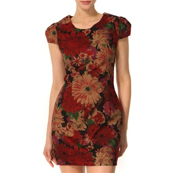 Vivi Boutique Red/Multi Floral Print Cotton Dress