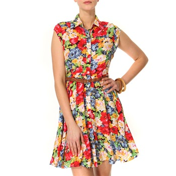 Vivi Boutique Red/Multi Floral Print Shirt Dress