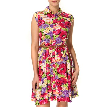 Vivi Boutique Pink/Multi Floral Print Shirt Dress