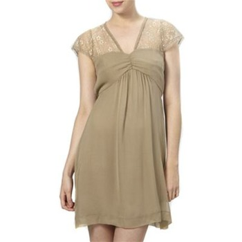 Kookai Beige Lace Panel Silk Dress