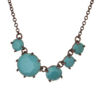 Les Néréides Turquoise/Bronze Five Stone Diamantine Necklace