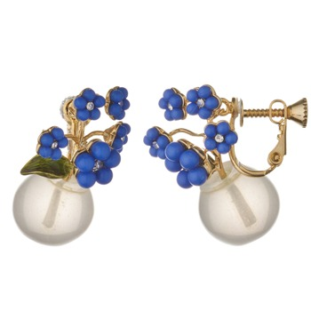 Les Nrides Clear/Gold/Blue Fleur M'a Dit Earrings